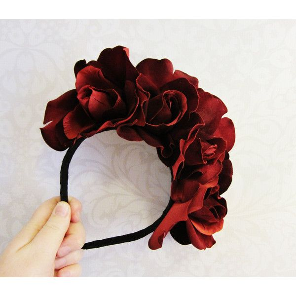 Red Rose Dia De Los Muertos Headband, Day of the Dead,Rose Flower... (13 CAD) ❤ liked on Polyvore featuring accessories, hair accessories, flower crown headband, silk flower garland, flower crown, red hair accessories and floral crown headband