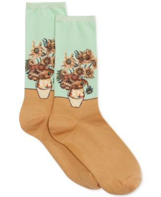 """Step up your artistic appeal with these exquisite trouser socks, featuring the """"Sunflower"""" print, one of the most iconic artworks, ever. From Hot Sox.   53% cotton/44% nylon/2% spandex/1% rubber   Mac"""