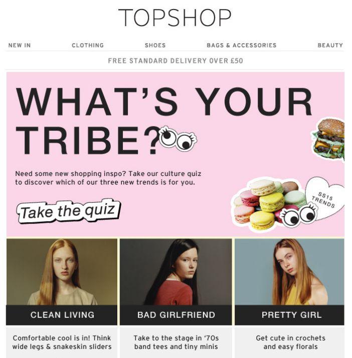"""Sub """"Which girl tribe are you?"""" Un test per scoprire quale trend fa per te. Il risultato rimanda ad una selezione di look. Un'idea semplice, ma divertente."""