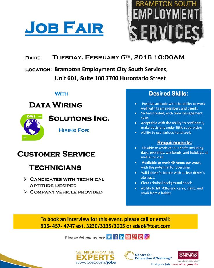 Looking for work? Why not get some experience in one of today's leading high-tech industries! This Tues Feb 6, 10am at #TCET_BramptonSouth - don't miss the Data Wiring Solutions Inc. job fair! To book an interview RSVP 905-457-4747 ext. 3230 or email sdeol@tcet.com #ONjobs #jobs