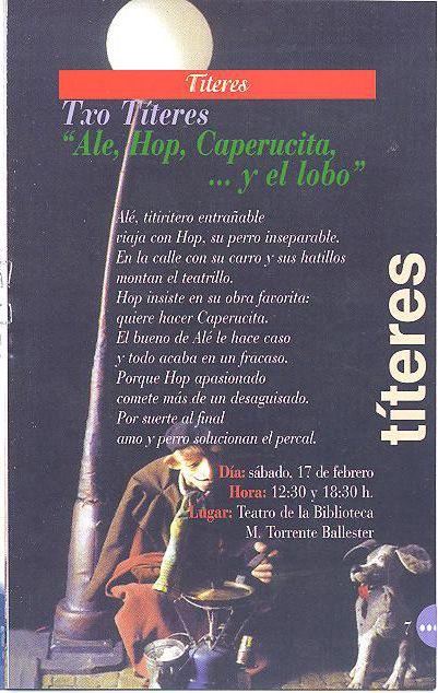 Títeres. Txo Títeres. Ale, Hop, Caperucita... y el lobo. Febrero 2001