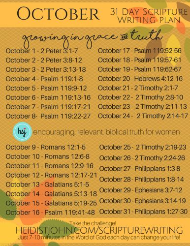 October Scripture Writing Plan from the Busy Mom