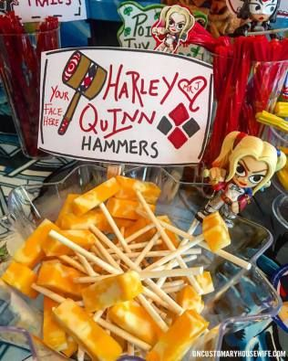 Harley Quinn Hammers. Batman Birthday Party Ideas. Superhero Birthday Party. Food, Decorations, and Fun. The Joker, Harley Quinn, Superman, Justice League, Suicide Squad, and more!
