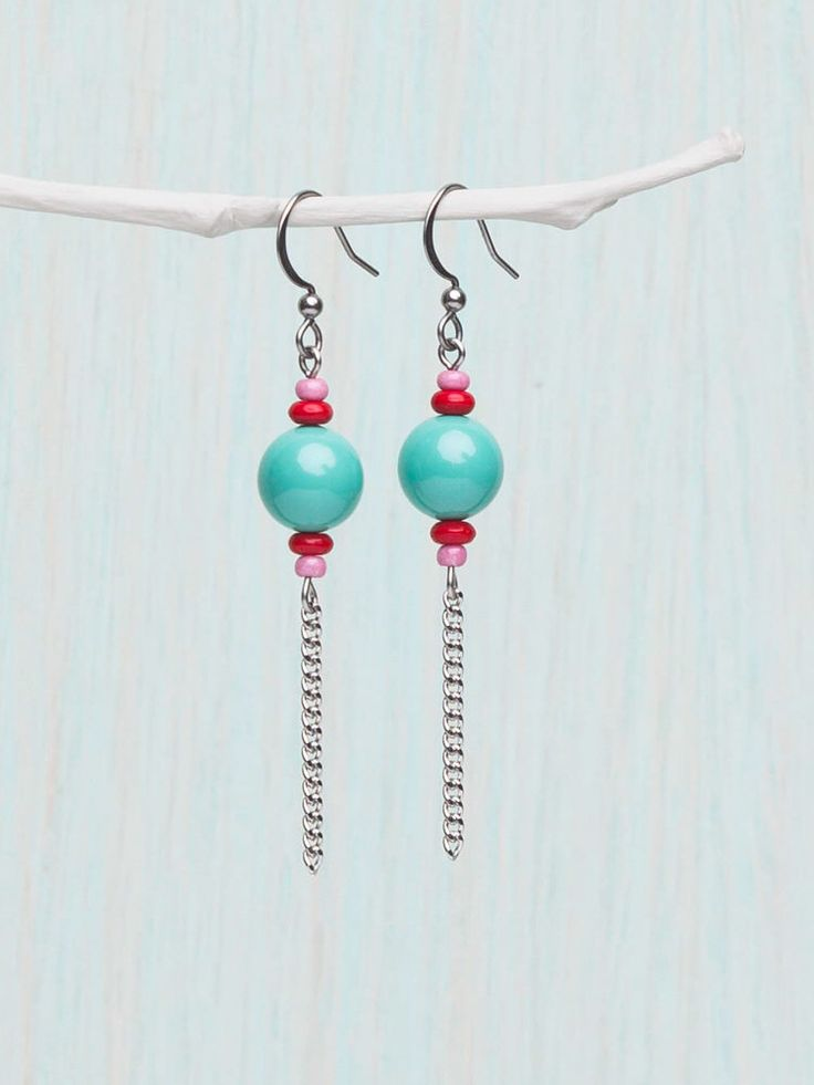 Turquoise, Red and Pink Earrings, Dangly Earring, Swarovski Round Bead, Stainless Silver Chain. Colourful Earrings. Retro Colour.  by StellaIsabelDesy on Etsy https://www.etsy.com/ca/listing/225738932/turquoise-red-and-pink-earrings-dangly