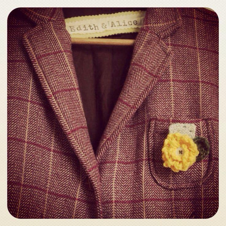 My old GAP check jacket, basically vintage now I still love it. #crochetflower #handmadebrooch