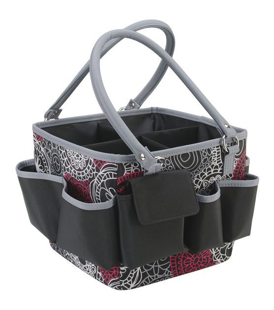Mackinac Moon Open Top Square Tote W/Foldable Dividers Red, White.  $23.39  #4