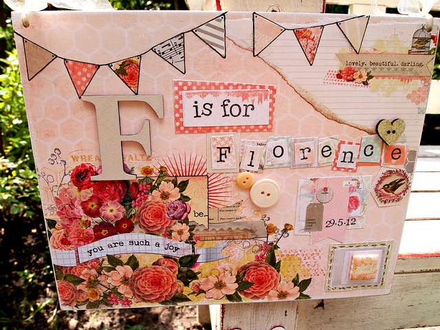 Personalised Girl Mixed Media Picture with buttons, tile, heart and bunting