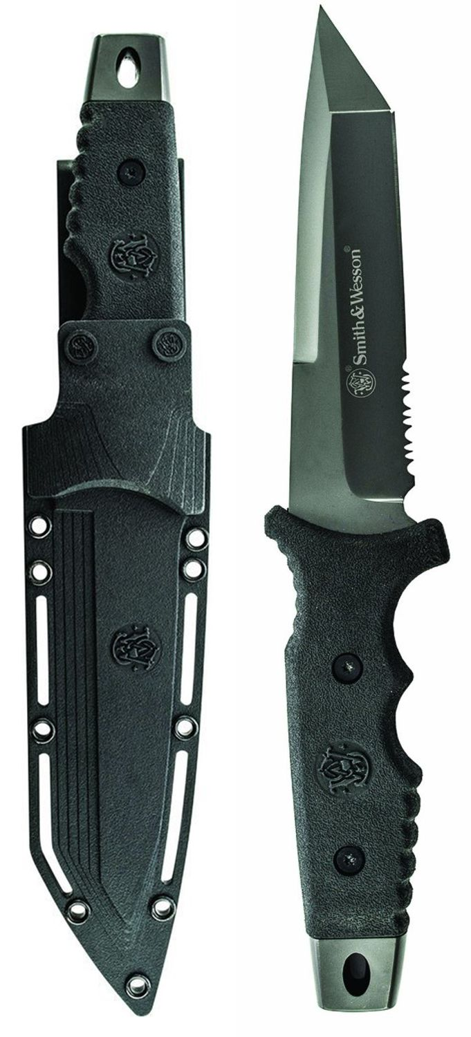 Smith & Wesson SW7 Full Tang Tanto Fixed Blade Knife PPE Handle 9Cr17 High Carbon Stainless