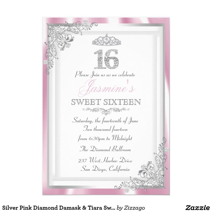 21 best PINK SWEET SIXTEEN Invitations images on Pinterest