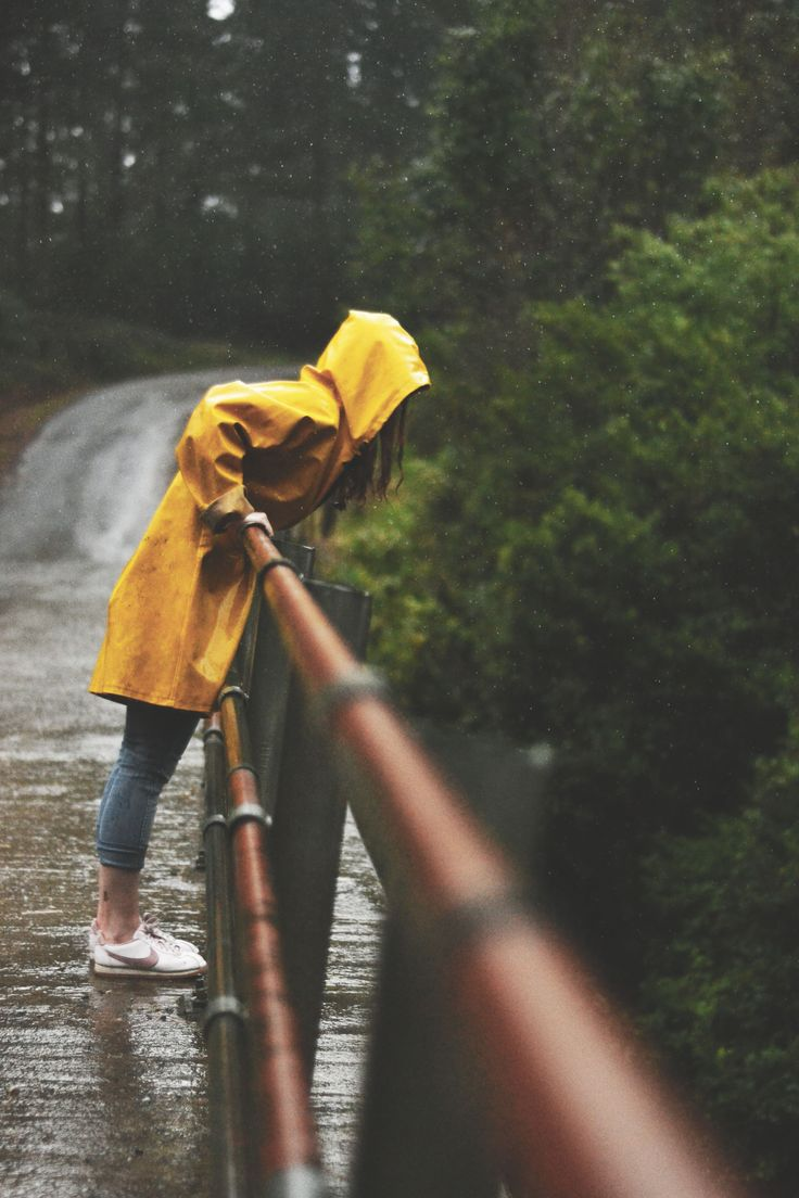 yellow raincoat in the forest photography raining