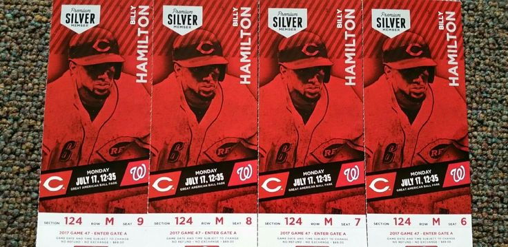 4 Cincinnati Reds Tickets. $69 per ticket face value. That's $276 worth of tickets Seats 6, 7, 8, and 9 #section #seats #tickets #nationals #reds #washington #cincinnati