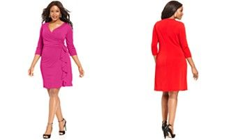 NY Collection Plus Size Faux-Wrap Ruffle Dress