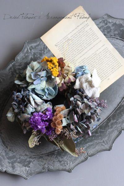 アンティークブルーと実のリース - ドライフラワーリース/ウェルカムボード/ ウェルカムリース| Dried Flower Arrangement ''Peony'' ピオニー