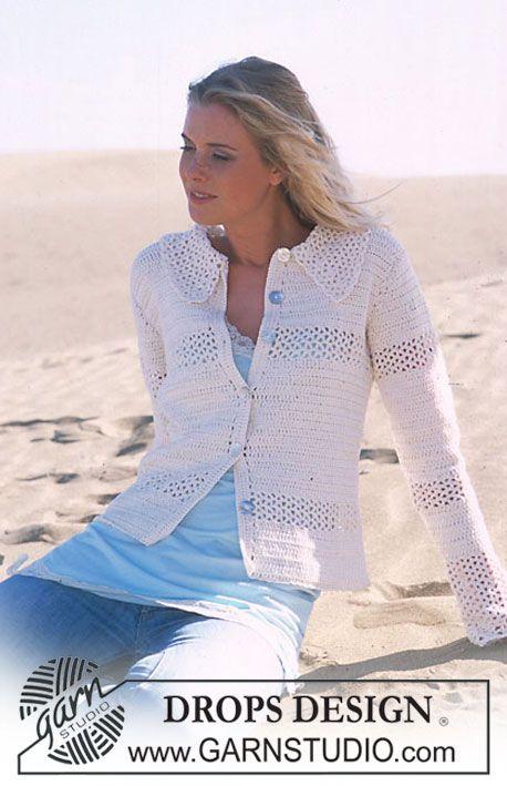 DROPS Crocheted Cardigan in Muskat  Sizes:S - M - L - XL - XXL