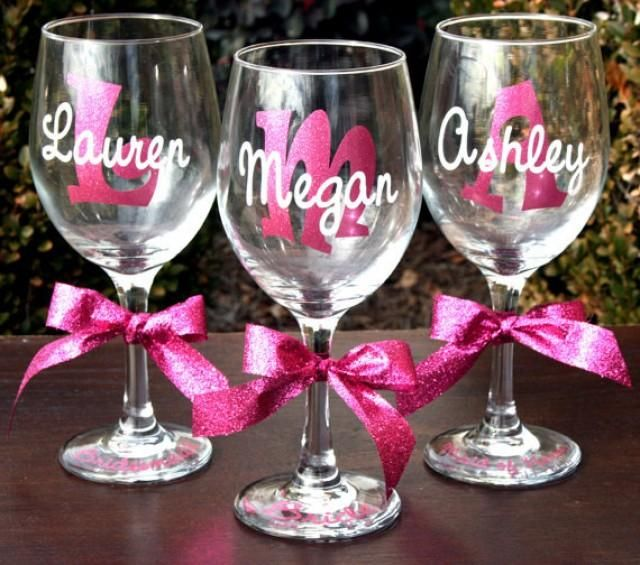 7 Monogrammed Bride and Bridesmaids Sparkling Personalized Wine Glasses
