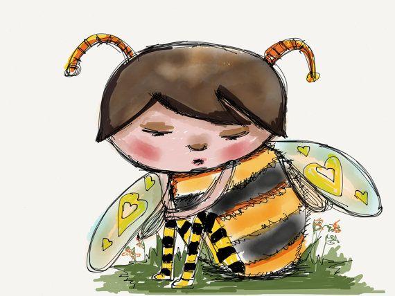 Bee Art Honey Nursery Decorwhimsical Digital Drawing