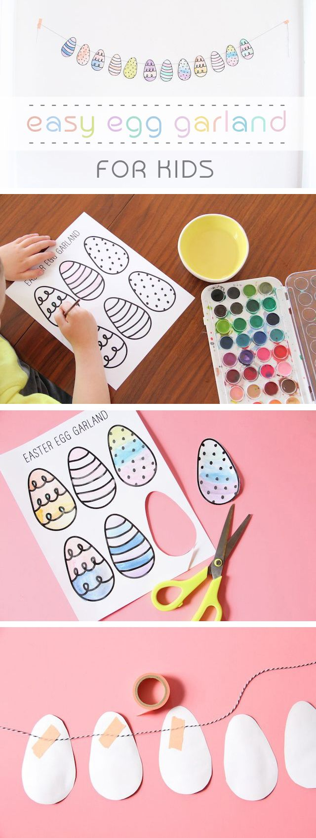 Printable, coloring eggs are included! A great Easter crafts for kids that you can also decorate the house with. You might want to join in on the coloring fun, we definitely do! Find the free printable template here: http://www.ehow.com/info_12340445_easy-diy-egg-garland-kids-make.html?utm_source=pinterest.com&utm_medium=referral&utm_content=inline&utm_campaign=fanpage