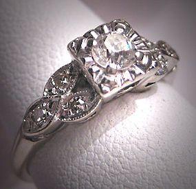 Antique Diamond Wedding Ring Vintage Art Deco