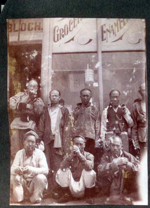 Chinese miners - posing outside Bloch's Grocers - early 1900's - Benoni