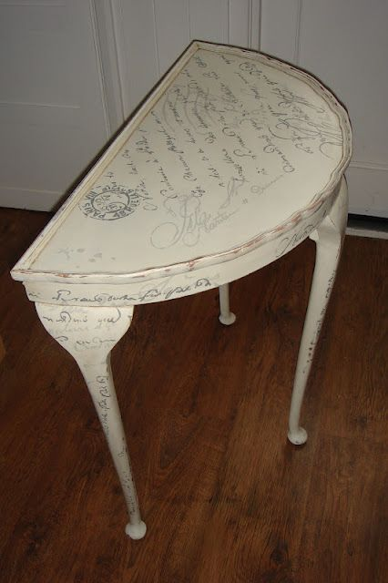 Pretty painted furniture piece. French Script hand painted with Chalk Paint (tm) decorative paint from @Annie Sloan
