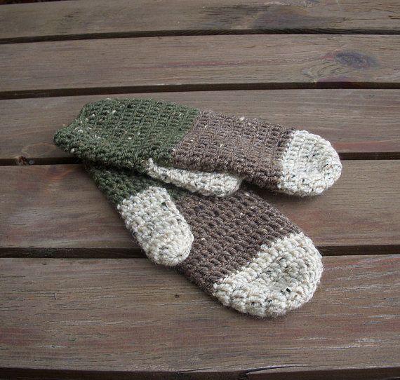 Green rustic mittens, warm mittens, gloves, brown, beige on Etsy, $33.00