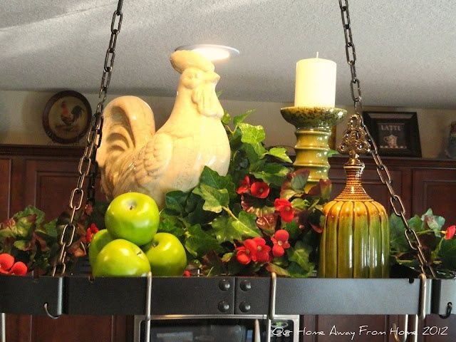 10 best images about decorating a pot rack on pinterest for Pot shelf decorating ideas