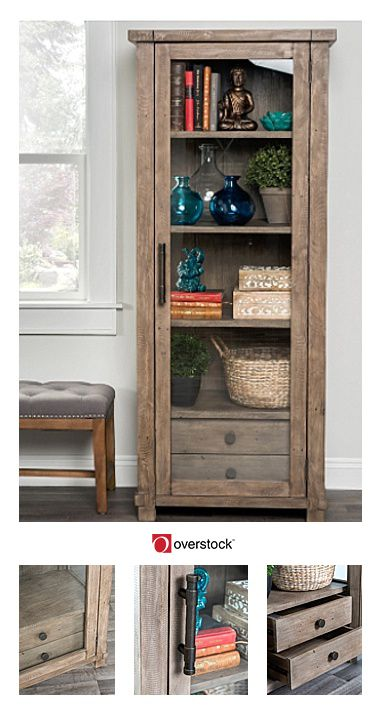 Rustic and classic, the Kosas Home Kasey 1 Door 2 Drawer Desert Curio Cabinet brings classical elegance to any space. Constructed from natural reclaimed pine, this curio cabinet is strong and durable enough for everyday use yet unique enough for formal or special occasional displays.