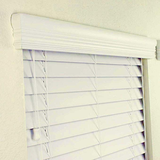 2 Faux Wood Blind 24 X 36 Inches In Alabaster W Upgraded Crown Valance Fascia Review Wood Blinds Faux Wood Blinds Blinds