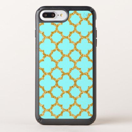 Modern Faux Gold Glitter Mosaic Quatrefoil Pattern Speck iPhone Case - pattern sample design template diy cyo customize