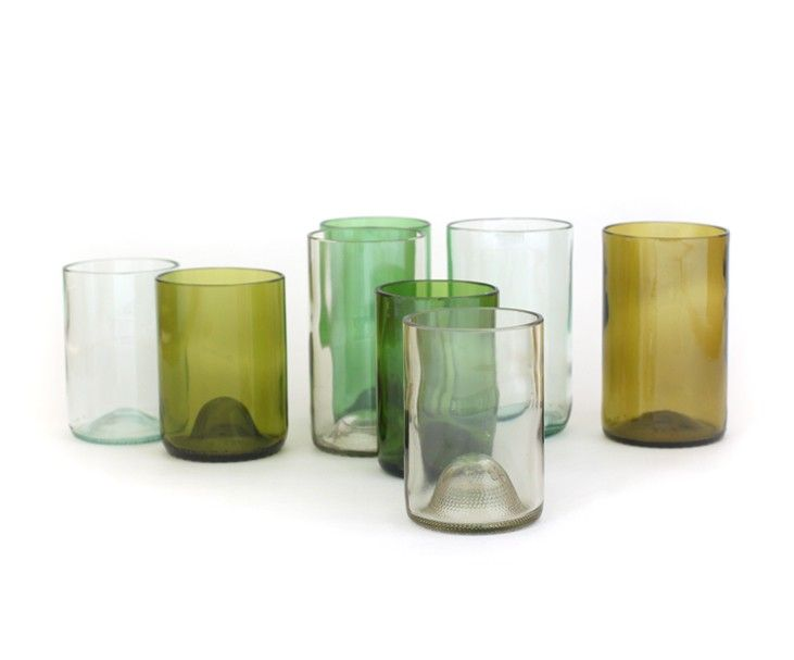 glasses: Clear Glass, Idea, Olive Tall, Wine Bottle Glasses, Recycled Wine Bottles, Aqua Glass