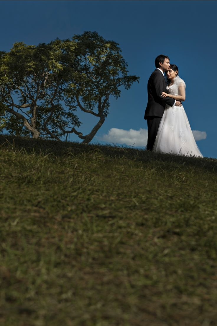 Classic Wedding Photo - a beautiful context of how the wedding day was full of summer warmth and blue skies.