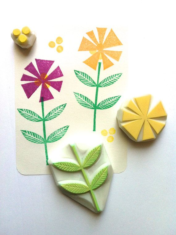 flower rubber stamp set. hand carved stamps. hand by talktothesun