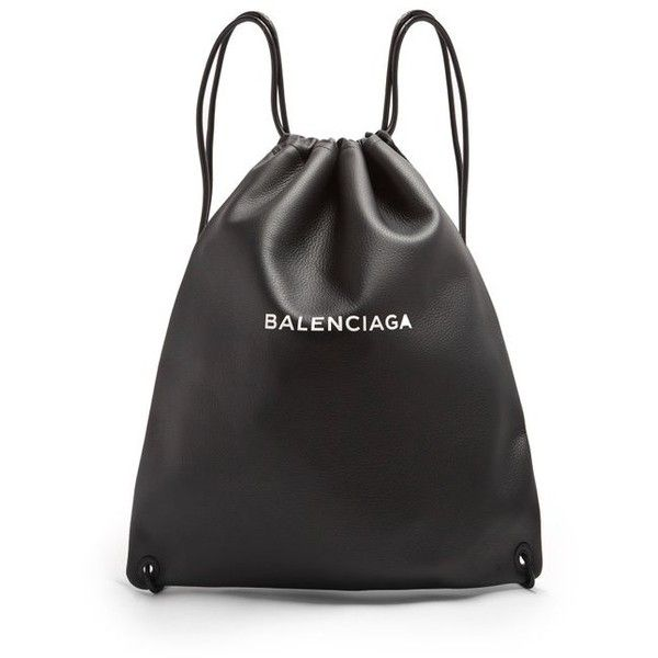 Balenciaga Logo-print leather drawstring backpack (34,150 THB) ❤ liked on  Polyvore featuring men's fashion, men's b… | Bags, Balenciaga bag, Leather drawstring  bags
