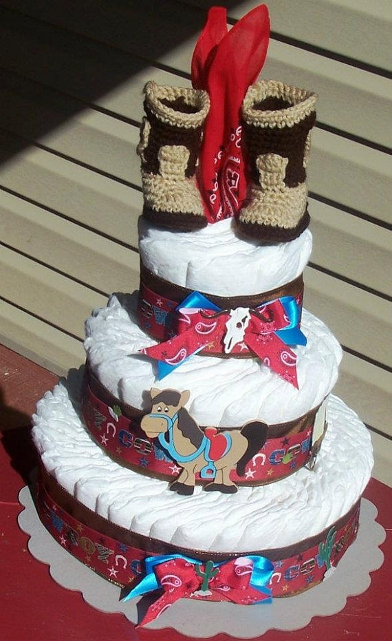 Boy's Cowboy Diaper CakeWestern Diaper Cake by FromDiapers2Divas, $65.00
