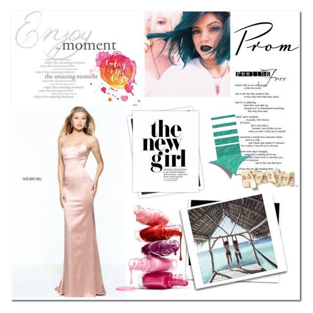 """2017 Blush Backless Satin Prom Dress"" by katarina-store ❤ liked on Polyvore featuring Sherri Hill, GALA, Prom, dress, SherriHill and 2017"