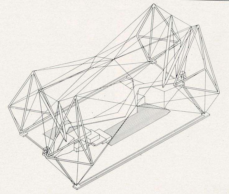 Axonometric drawing for the London Zoo Aviary Regents Park, London 1960-1963 Architects: Lord Snowdon, Frank Newby, Cedric Price