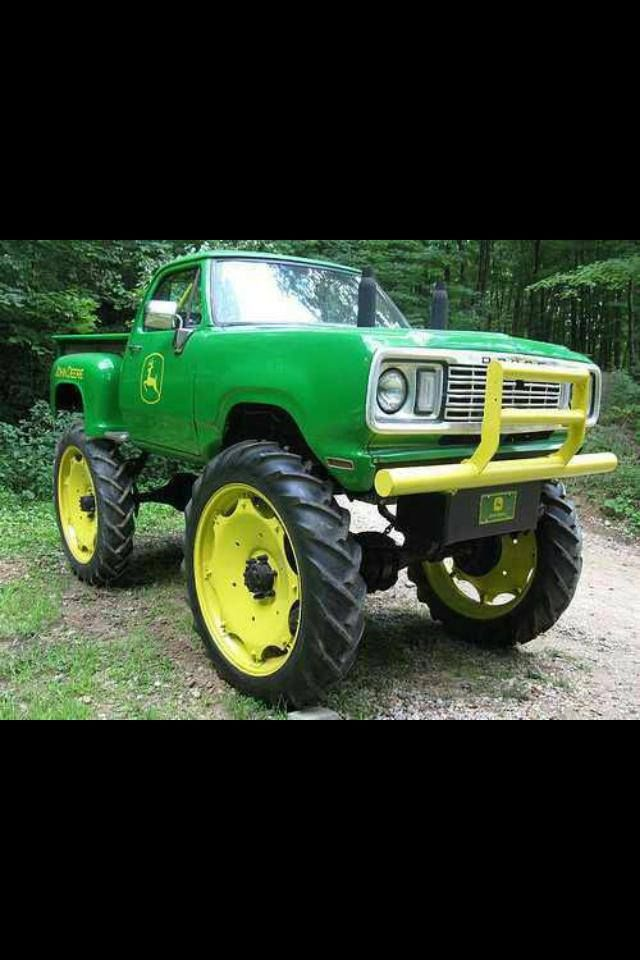 John Deere Tractor Car : Dodge truck with john deere tractor tires well least