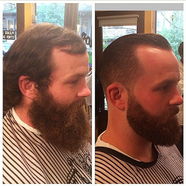 It's counter-intuitive, but often bringing hair up and off the face draws less attention to a receding hairline as with this guy who has a taper fade with slicked back pompadour and beard. A well shaped beard is also a great way to draw attention away from any loss on top. Don't you agree that this clean look makes him look younger too?