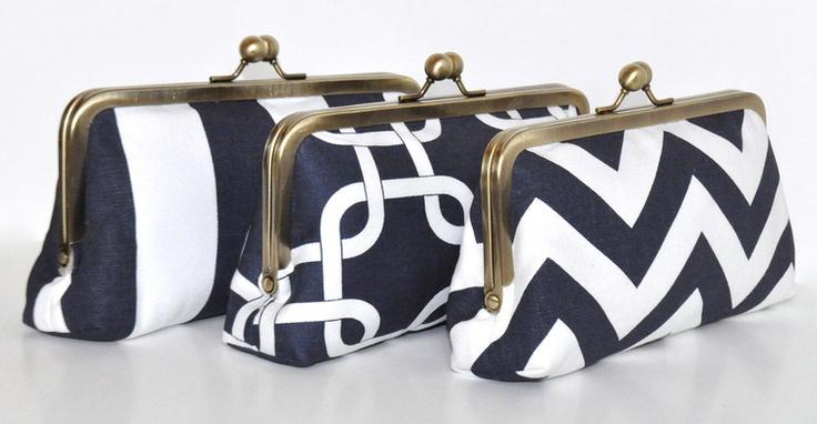 Custom Clutch — Primrose Mag #oatmeallacedesign #oatmeallace #clutch #gift #bridesmaid #wedding #nautical #chevron #stripe #navy