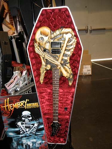 electric guitar in coffin case