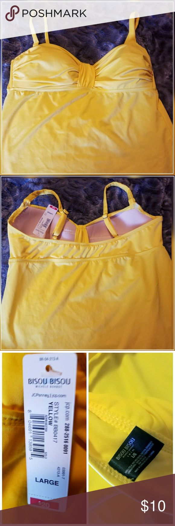Bisou Bisou Yellow Tankini Top NWT Large Bisou Bisou Bright Yellow Tankini top. Top only.  Size large.  Slightly padded built in bra.  The bottom is slightly sheer.    Easy to mix and match.  New, never worn.  Great bright colors for Summer! Originally  $20 Smoke free. Bisou Bisou Swim Bikinis