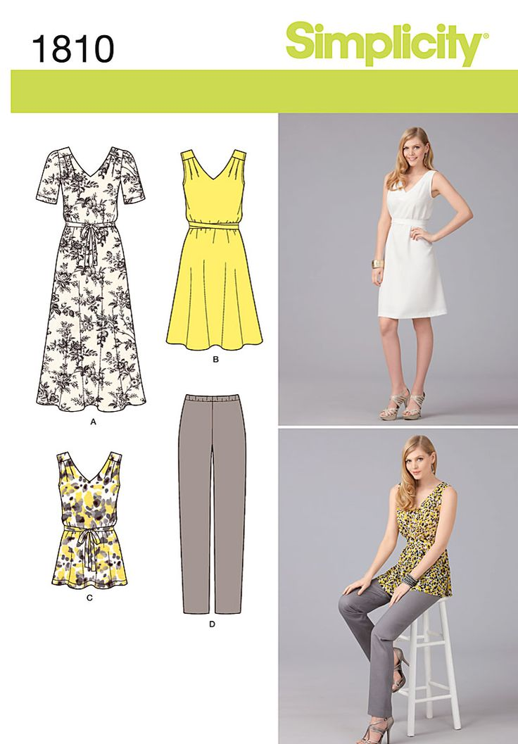 Simplicity tunic and dress patternDresses Pattern, Sleeveless Dresses, Plus Size, Size Sportswear, Simplicity Sewing, Simplicity Pattern, Simplicity Creative, Simplicity 1810, Sewing Patterns