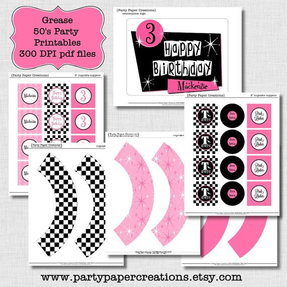 Party Printables - Grease Fifties Birthday Party Printable Decor - Personalized