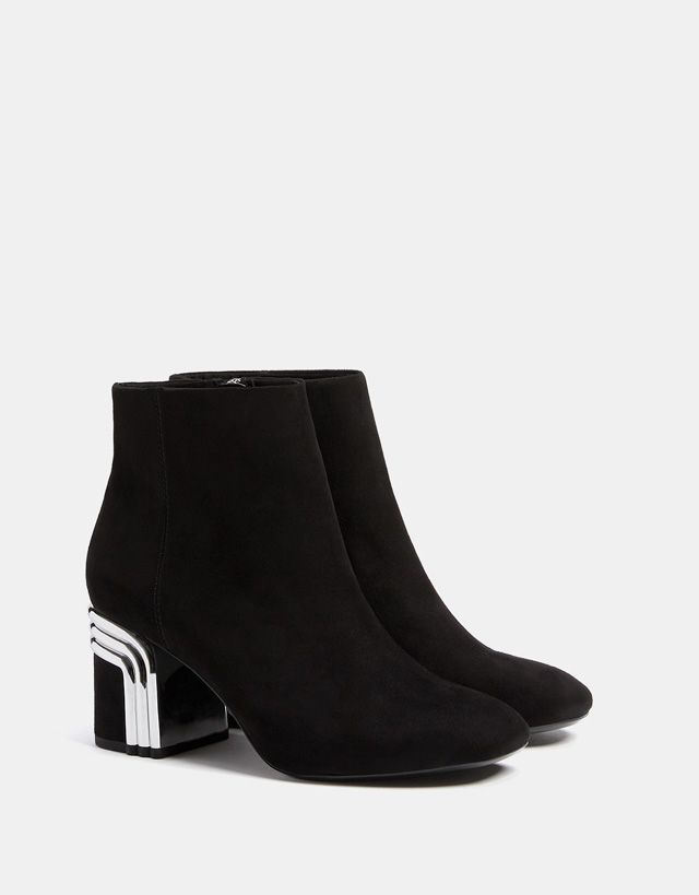 Bershka United States - Mid heel ankle boots with metal detail