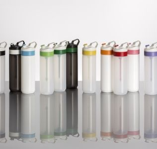 Promotional Fuse infuser bottle with fruit infusion stick white with purple cap and stick