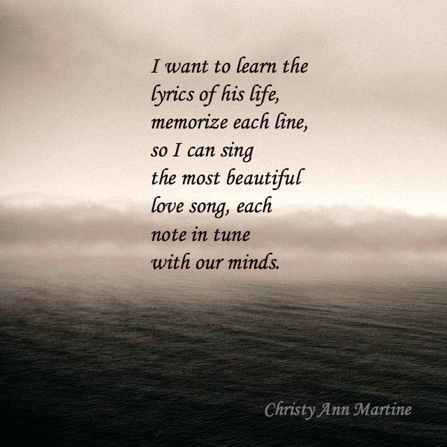 Lyrics of His Life poem by Christy Ann Martine ~ Romantic Love Poems and Quotes ~ Poetry ~ Poets ~ Female Poets  #christyannmartine #poets