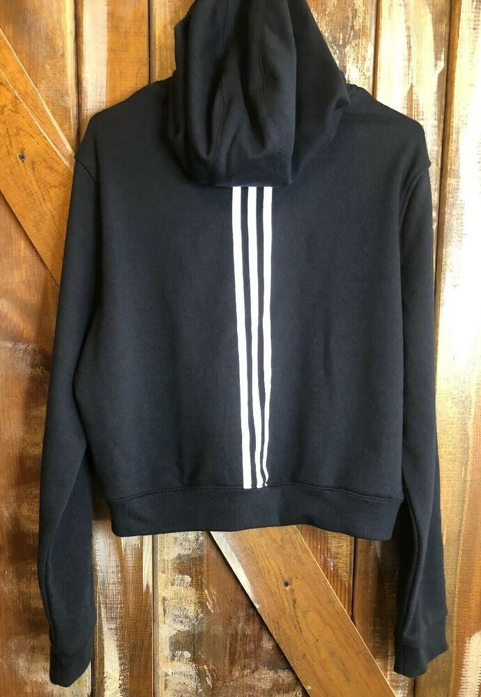 Adidas Cropped Hoodie Size XL Black Pullover Three Striped
