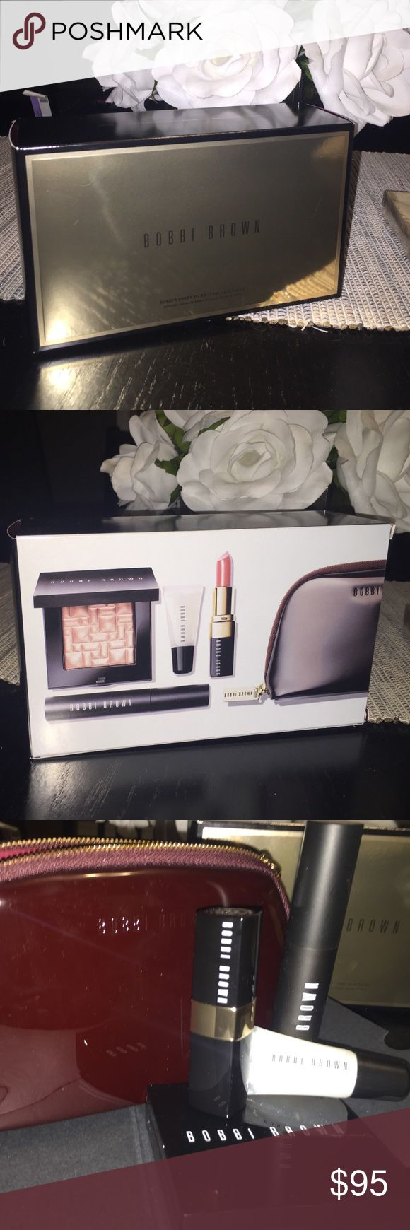 "Brand New Bobbi Brown Party Picks! Brand new just opened to take pictures of. Includes Bobbi's favorite party picks which includes: Highlighting powder, Eye opening mascara, Lip stick ""Alice's favorite"", Glitter lip gloss, and an exclusive Bobbi Brown cosmetic bag!! Bobbi Brown Makeup"