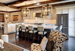 Tropical Kitchen with Breakfast nook, Pendant Light, Carrara White Marble Countertop, Aries Modern Bar Stool, Undermount Sink