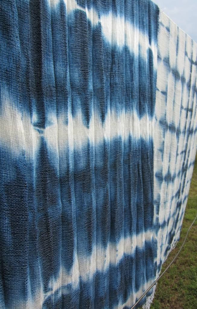 Tie dye mohair throws in indigo blue and natural
